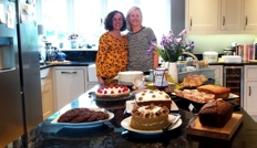coffee morning table with cakes